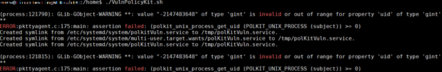 Screenshot of code showing errors regarding Polkit failing to handle uid field