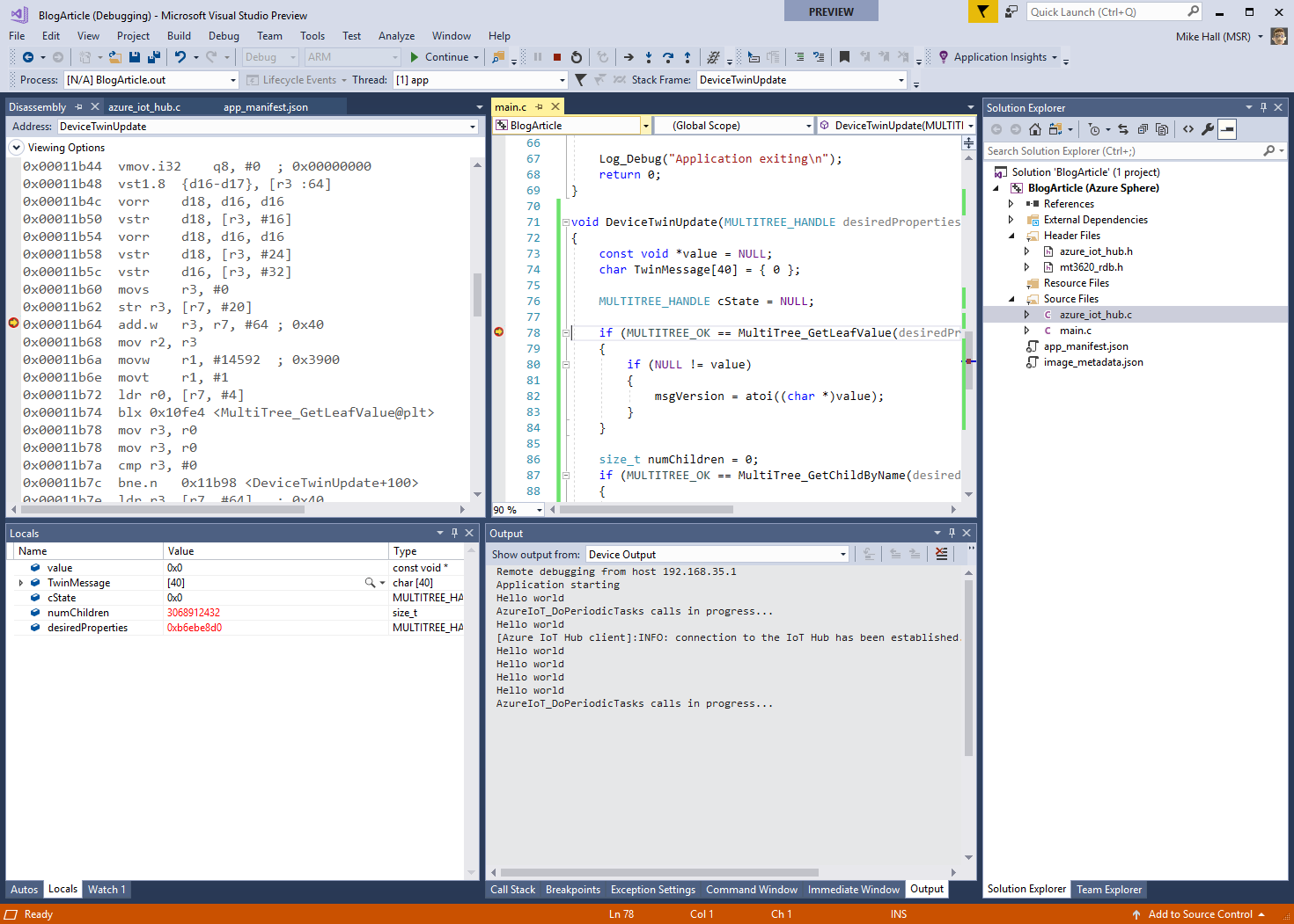 Visual Studio actively debugging an Azure Sphere application