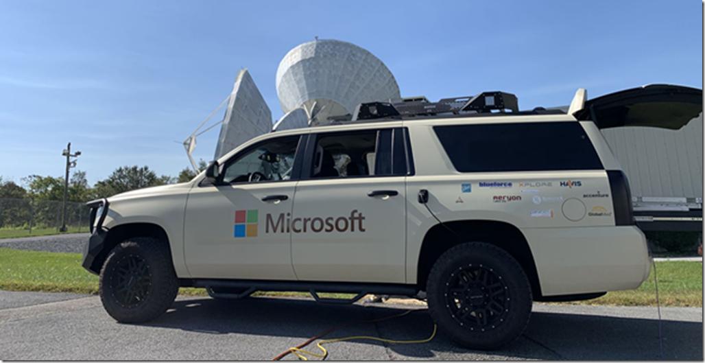 Tactical Edge Vehicle on ground near satellite