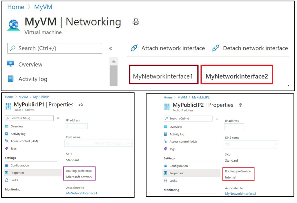 Enable both routing options for Azure VM