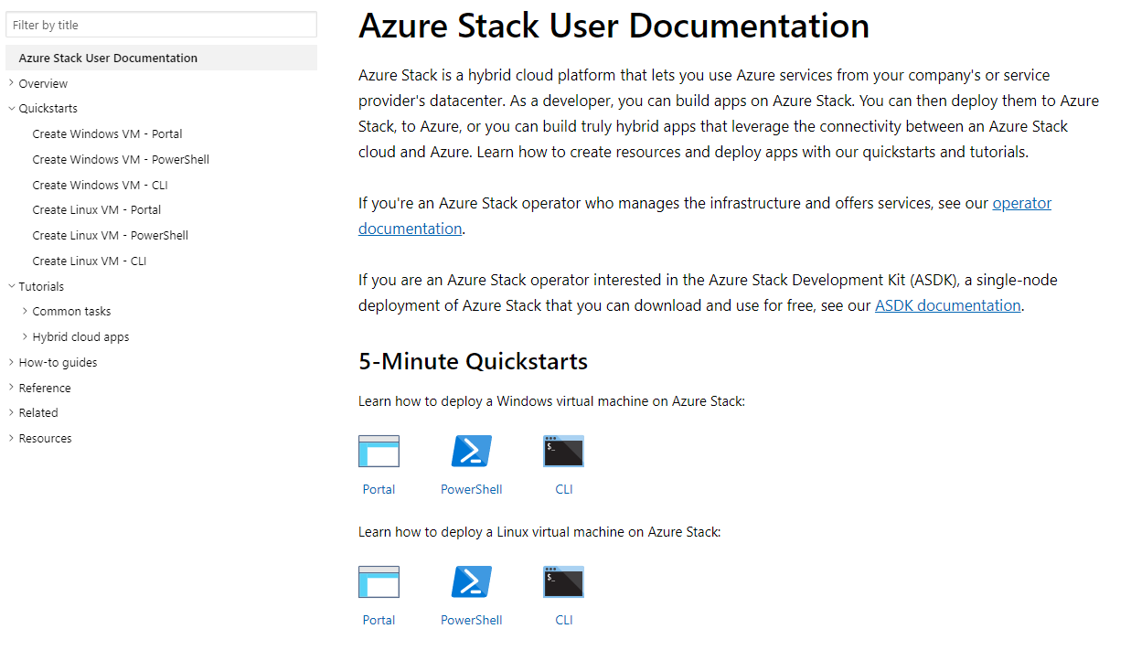Screenshot of Azure Stack User Documentation containing quick starts and tutorials