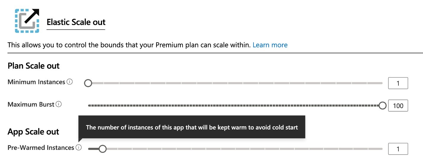Scale settings for the Azure Functions Premium plan in the Azure portal