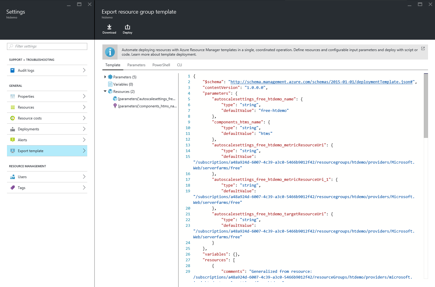Announcing template export feature in Azure Resource Manager | Blog ...