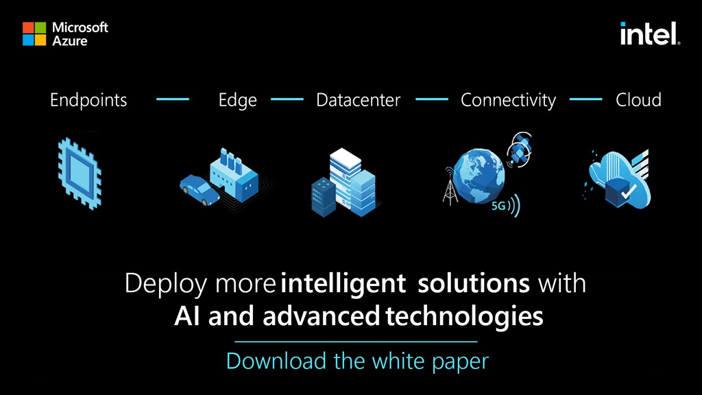 An image in white text that reads deploy more intelligent solutions with AI and advanced technologies download the white paper