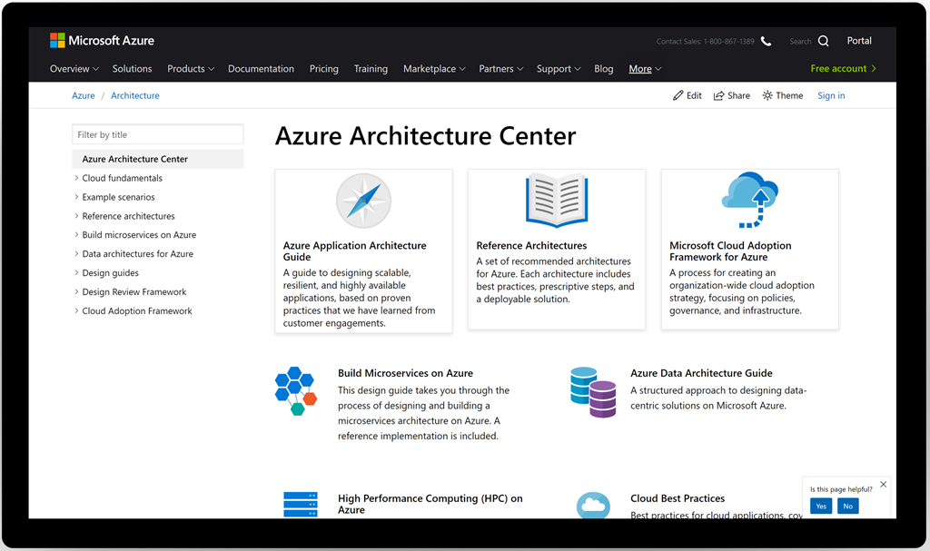 Azure Architechture Center main page.