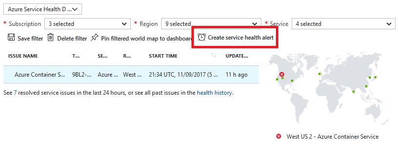 Create service health alert