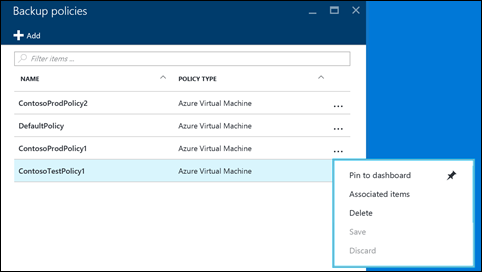 Azure Backup Policy List View - recovery Services vault