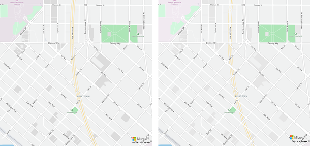 Road network layering changes. Before (left image) and after (right image).
