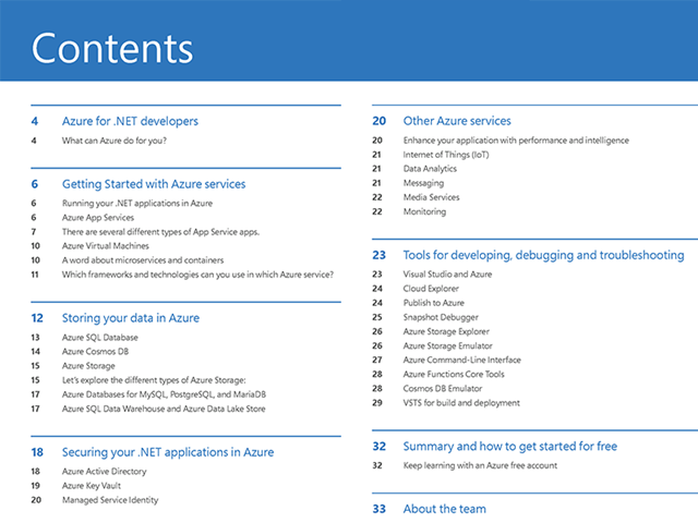 Azure Quick Start Guide for .NET Developers Contents