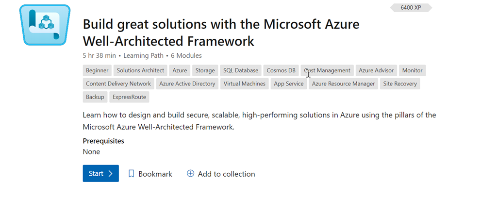 Microsoft Azure Well-Architected Framework learning module.
