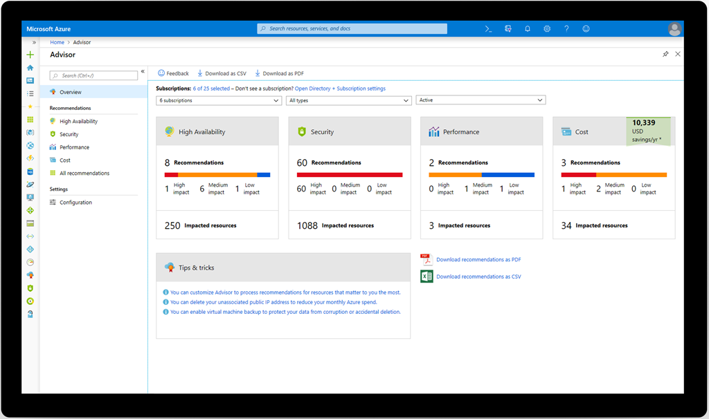 An image showing the Azure Advisor overview page.