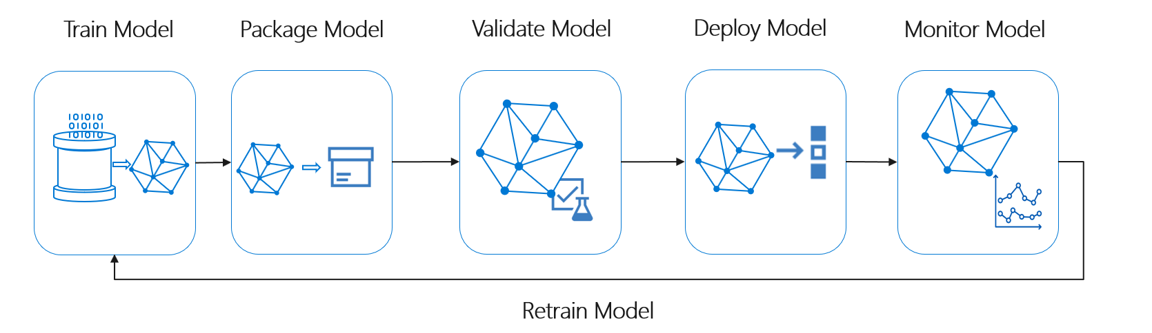 A diagram showing the cycle of training PyTorch models.
