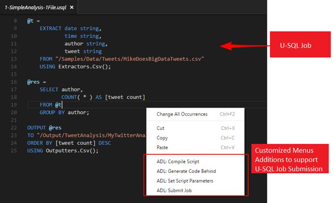 Customized Menu Additions U-SQL