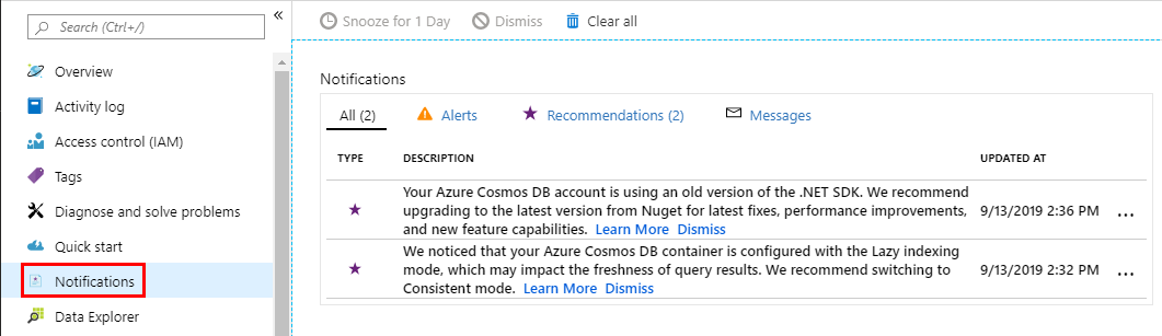 The Notifications section showing all received Cosmos DB recommendations.