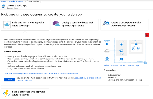 Screenshot of the create resource page