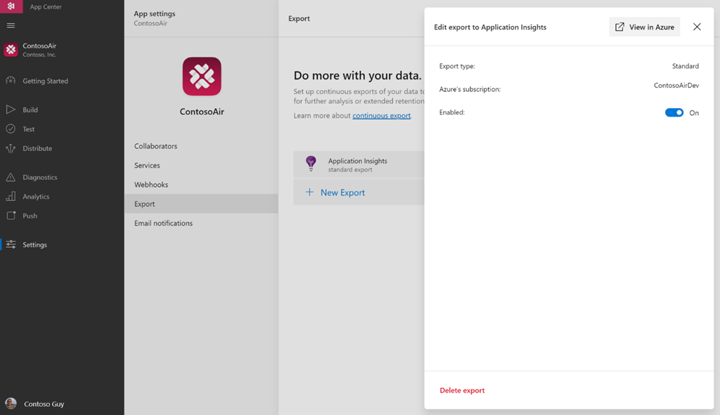 Visual Studio App Center integration