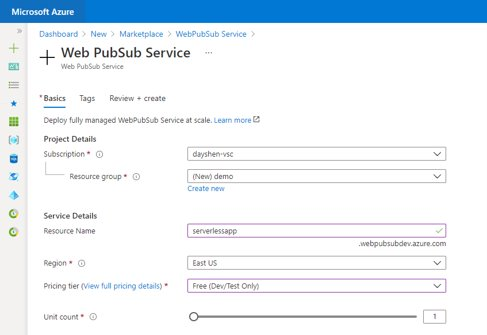 Azure Web SubPub portal