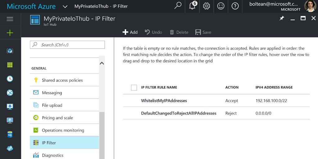Azure IoT Hub whitelist