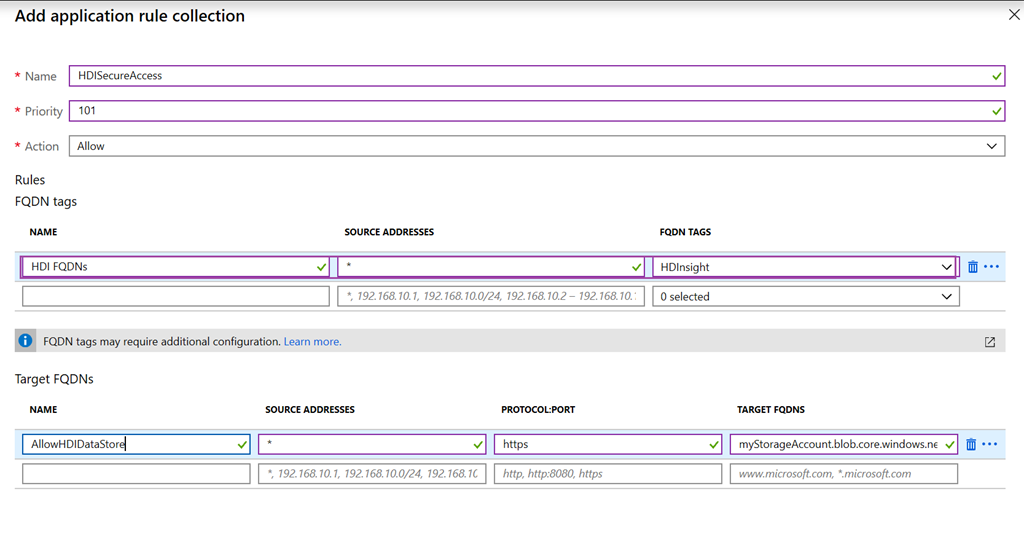 HDI FQDN タグで Azure Firewall アプリケーション ルールを作成している例