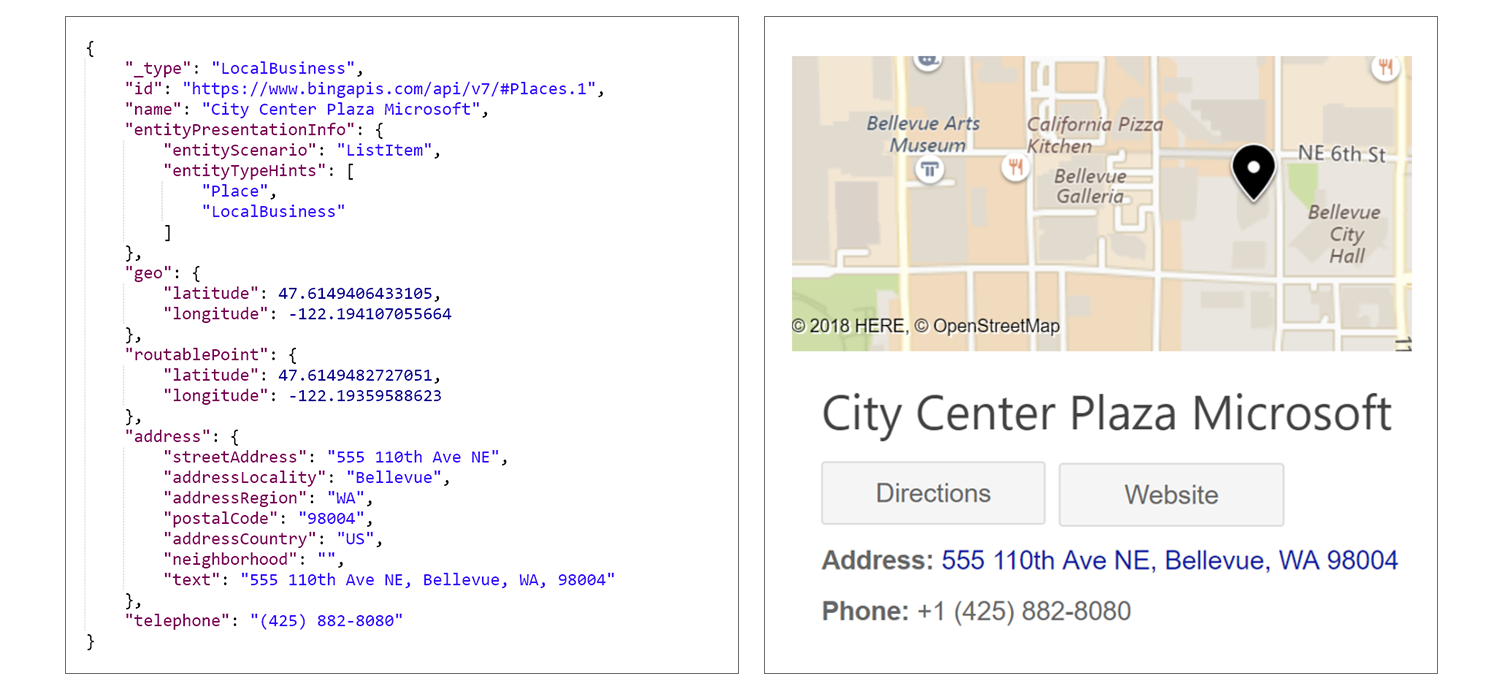 "An example from Bing.com for the ""City Center Plaza Microsoft"" query with JSON on the left, map on the right."