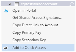 Quick Access - Microsoft Azure Storage Explorer