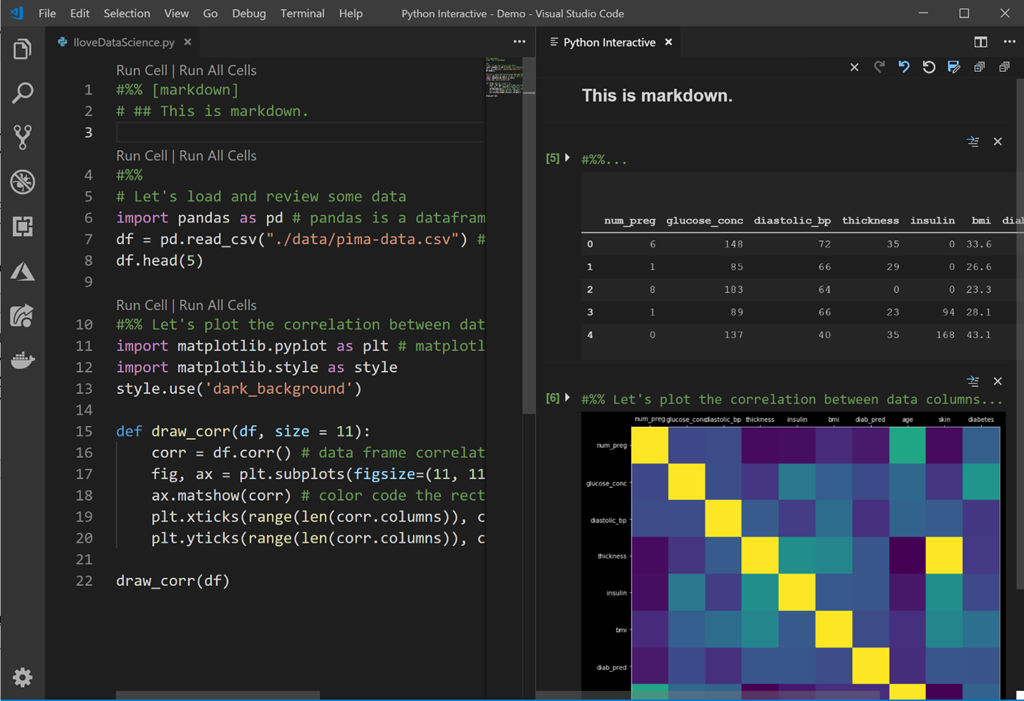 Screenshot showing the Python extension for Visual Studio Code