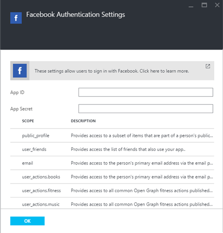 Facebook configuration settings