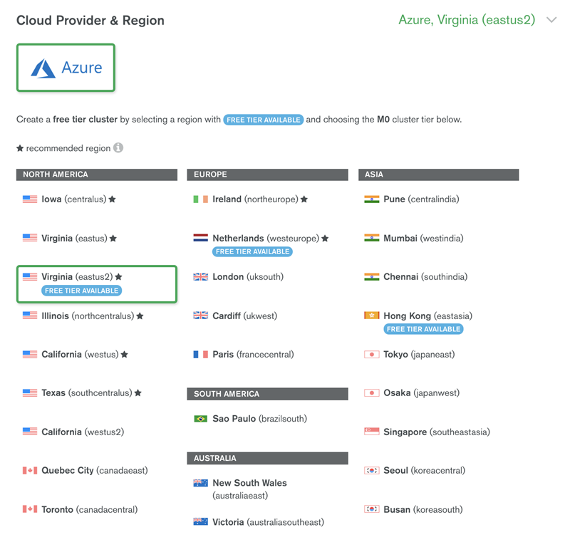 Cloud provider and region availability table