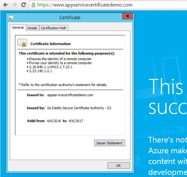 Web App endpoint secured with App Service Certificate