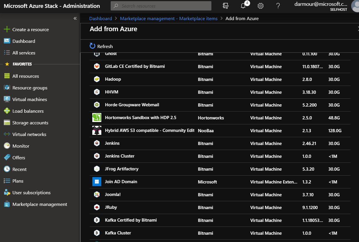 Screenshot of the administrator view when downloading marketplace items into Azure Stack