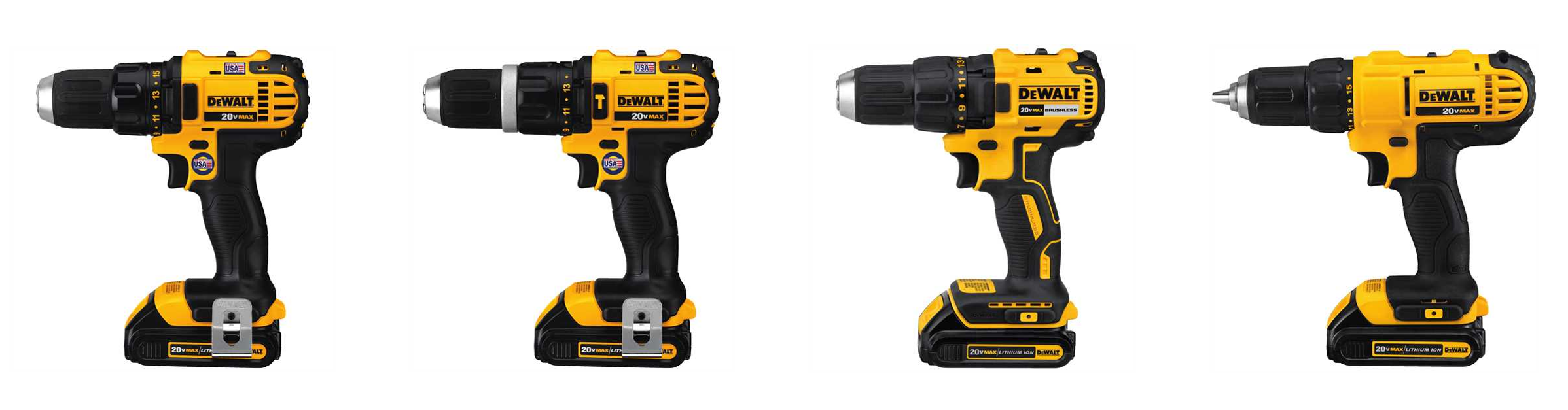 Four different DeWalt drills that look very similar