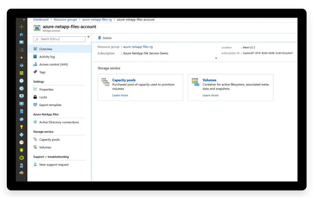 Screenshot of the Azure NetApp files account portal