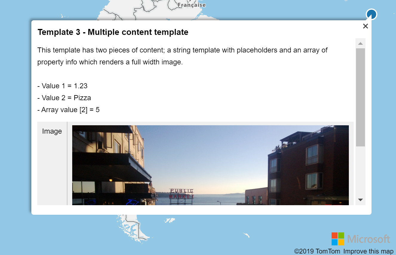 A popup template displaying data using a template with multiple layouts.