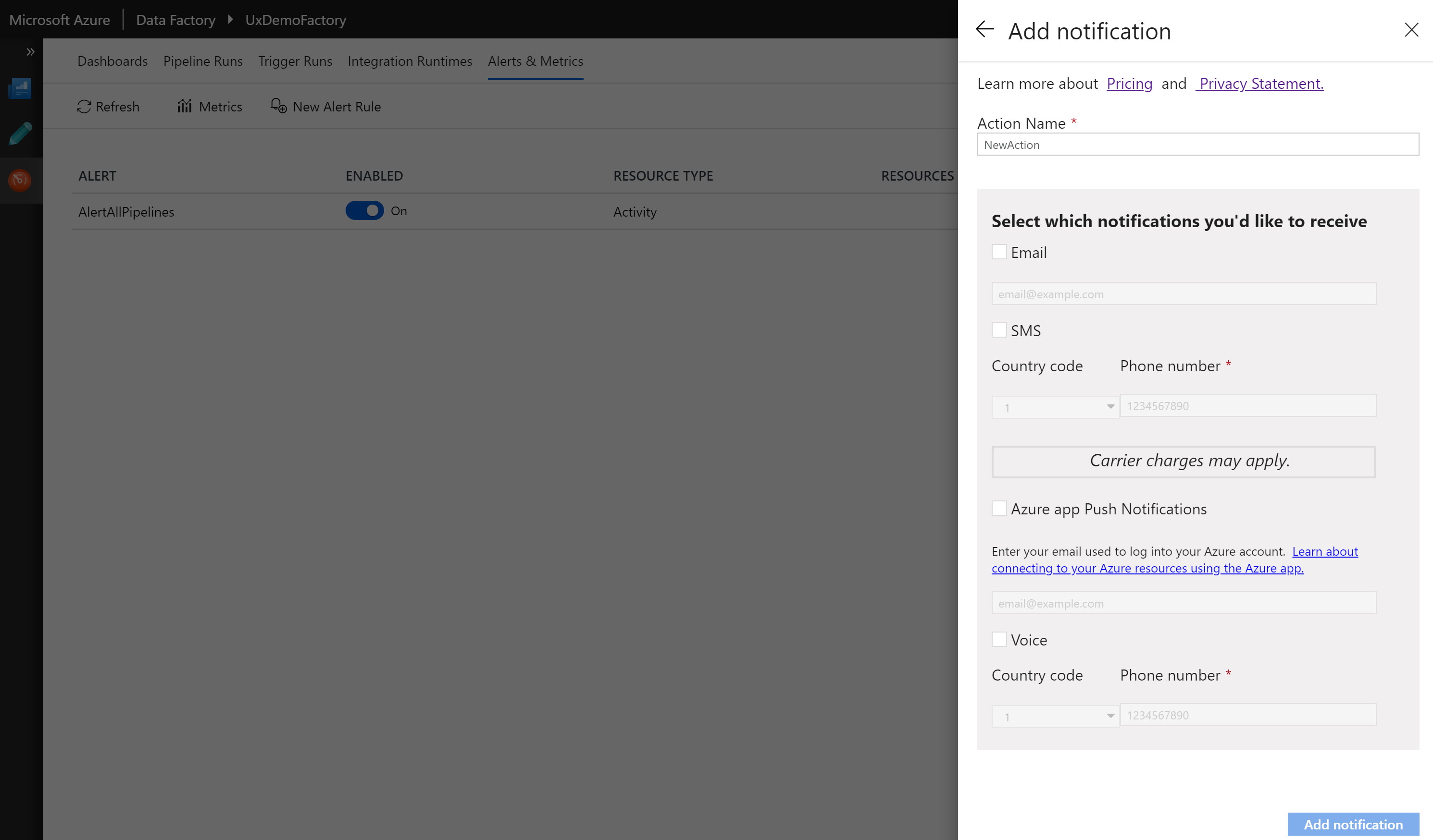 Configuring alert notifications in Azure Data Factory