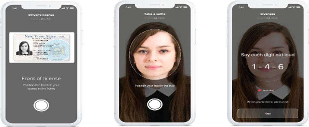 Mobile device screenshots showing the Onfido Identity Verification Solution