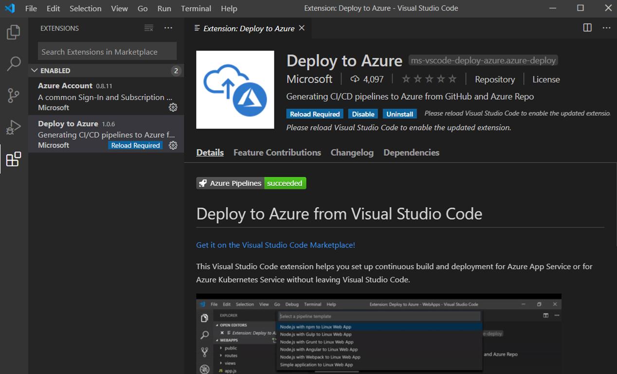 Extension Déployer sur Azure de VS Code