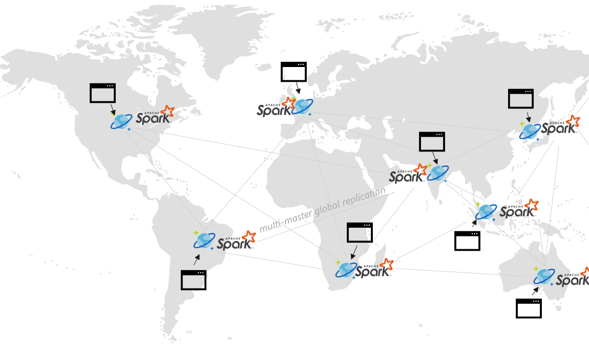 Map of Apache Spark locations.