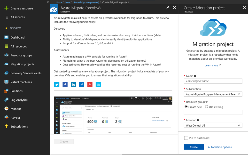 Azure Migrate (preview)