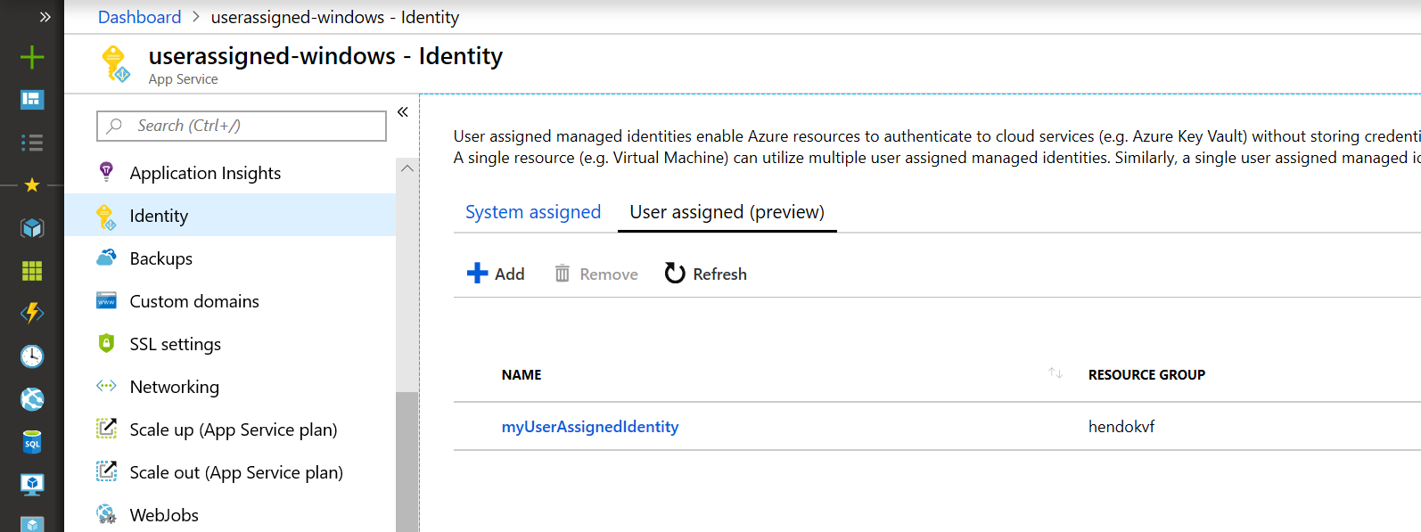 User-assignment managed identities