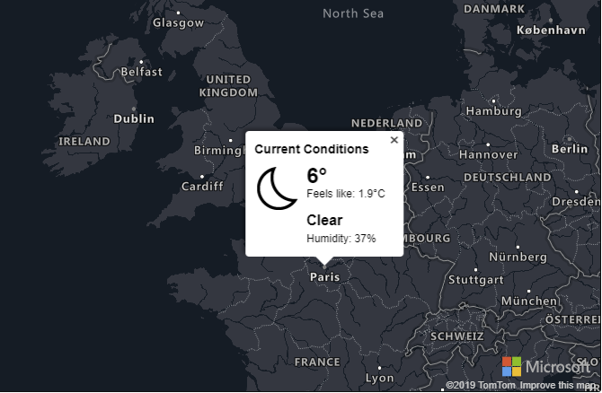Map showing weather information for Paris.