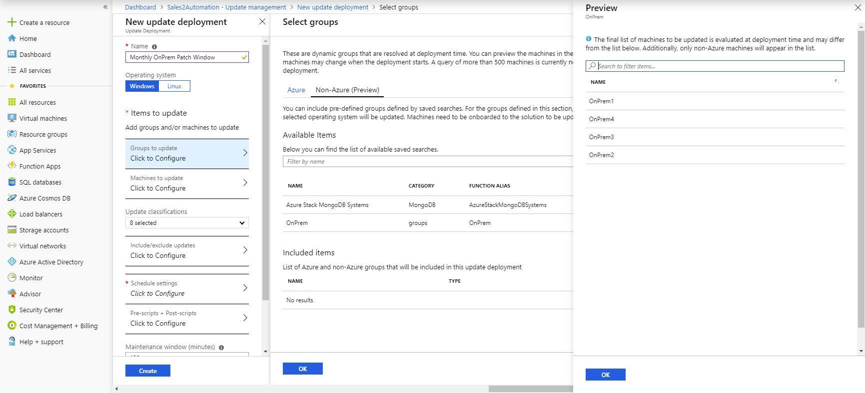 Screenshot of selecting dynamic non-Azure groups