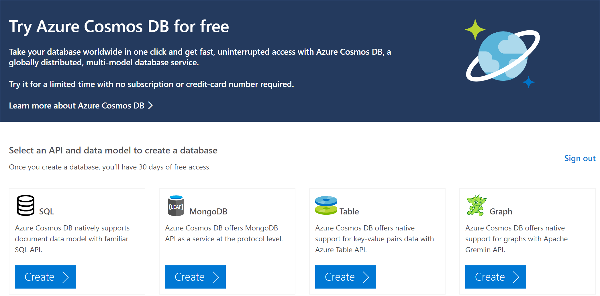 Azure Cosmos DB is also included in the Azure free account, which includes  400 RU/s for 12 months.