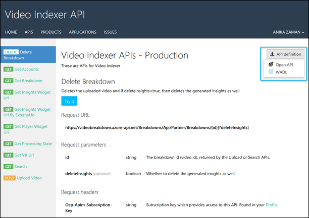 Download API definition button on Video Indexer API page