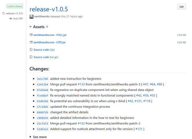 Release notes on GitHub
