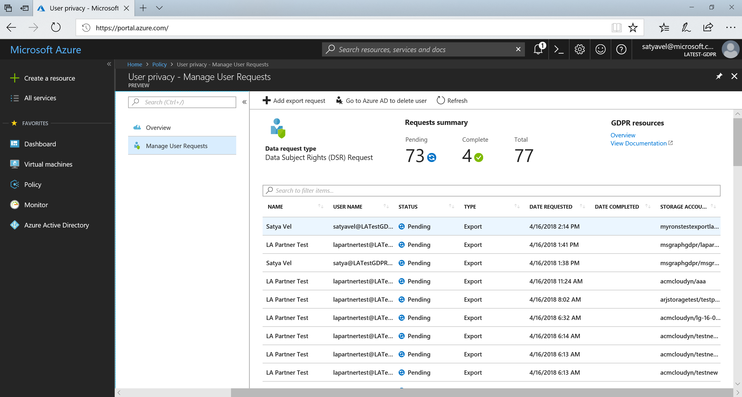Streamlining Gdpr Requests With The Azure Portal Blog Microsoft