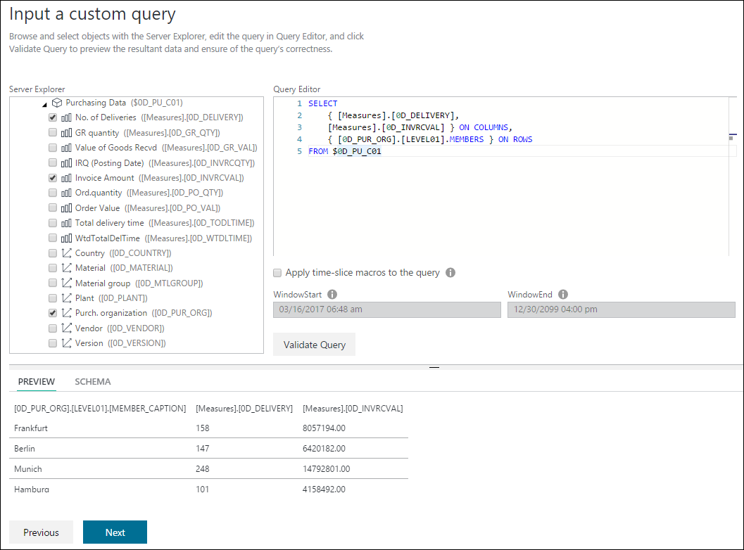 SAP BW navigation and custom query