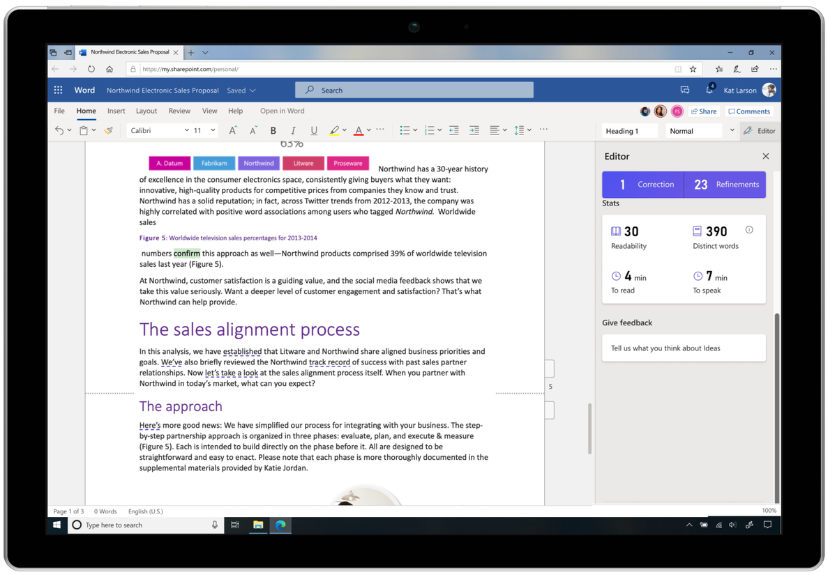 Screen shot of Editor within Microsoft Word helping provide insights like readability, count of distinct words, time to read, and time to speak.