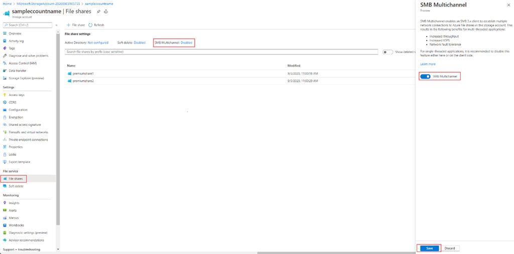Azure Files SMB Multichannel  2