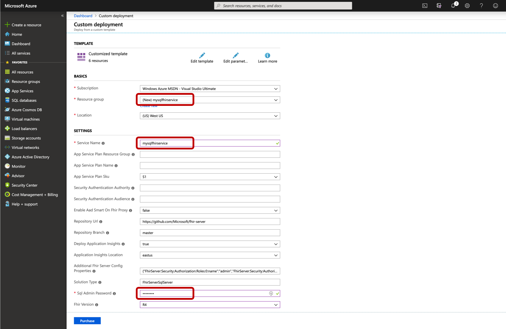 Azure Resource Manager template for deploying the FHIR server wirh a SQL persistence provider