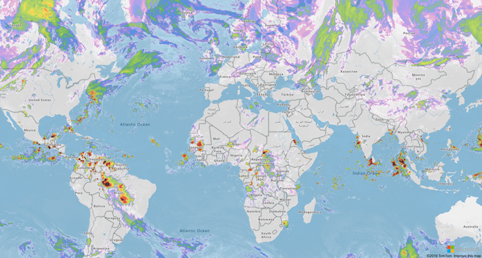 A global view of an Azure Map with new weather services information layered atop of it.